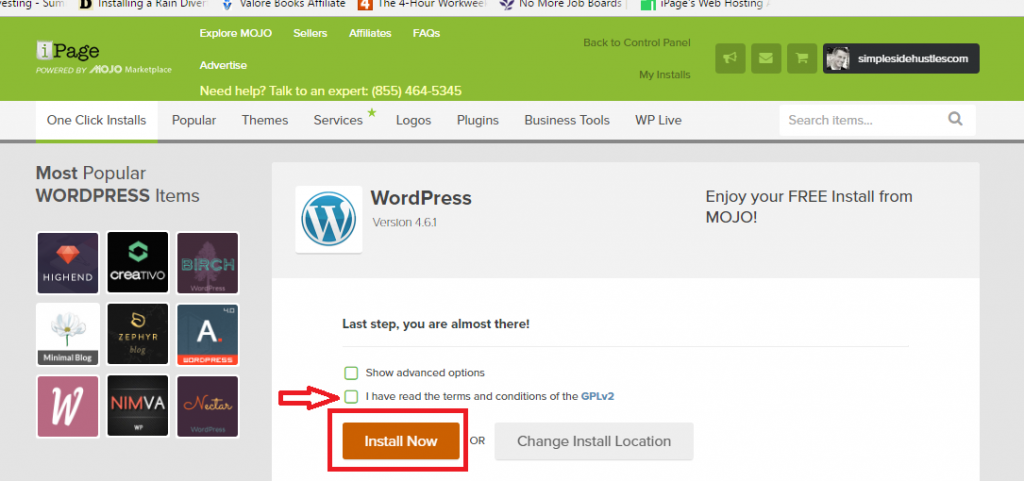 start a wordpress blog on ipage - install now wordpress