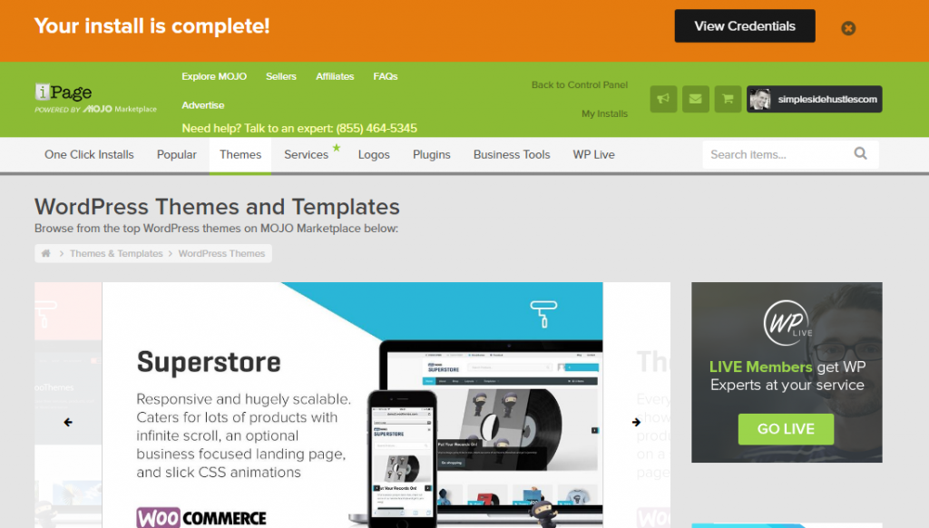 start a wordpress blog on ipage - install complete