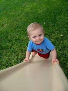 boy on slide