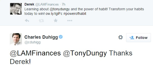 20150131 - response from Charles Duhigg, the power of habit