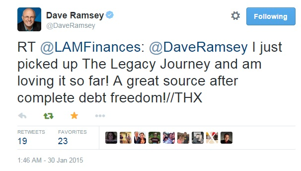20150131 - response from Dave Ramsey, The Legacy Journey