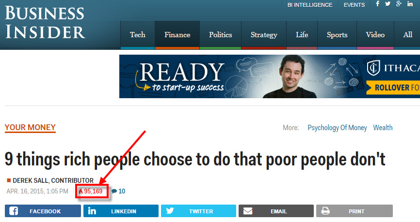 Business Insider article 9 things rich people do