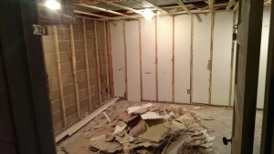 rental house rebuild - pile of drywall