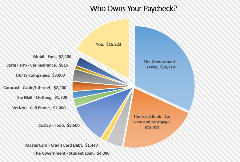 who owns your paycheck - pie chart