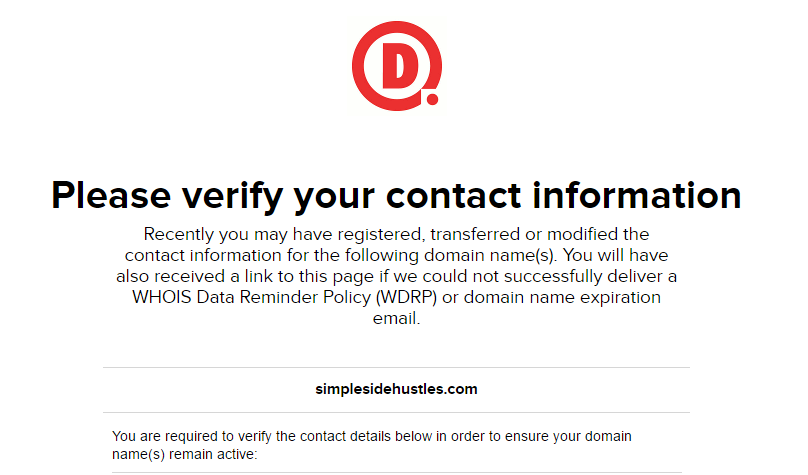 start a wordpress blog on ipage - verify your contact info