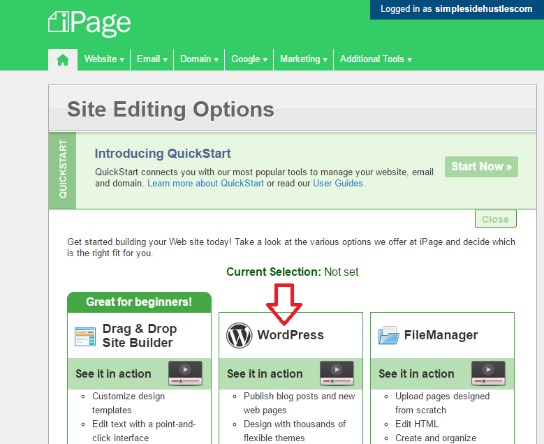 start a wordpress blog on ipage - choose wordpress