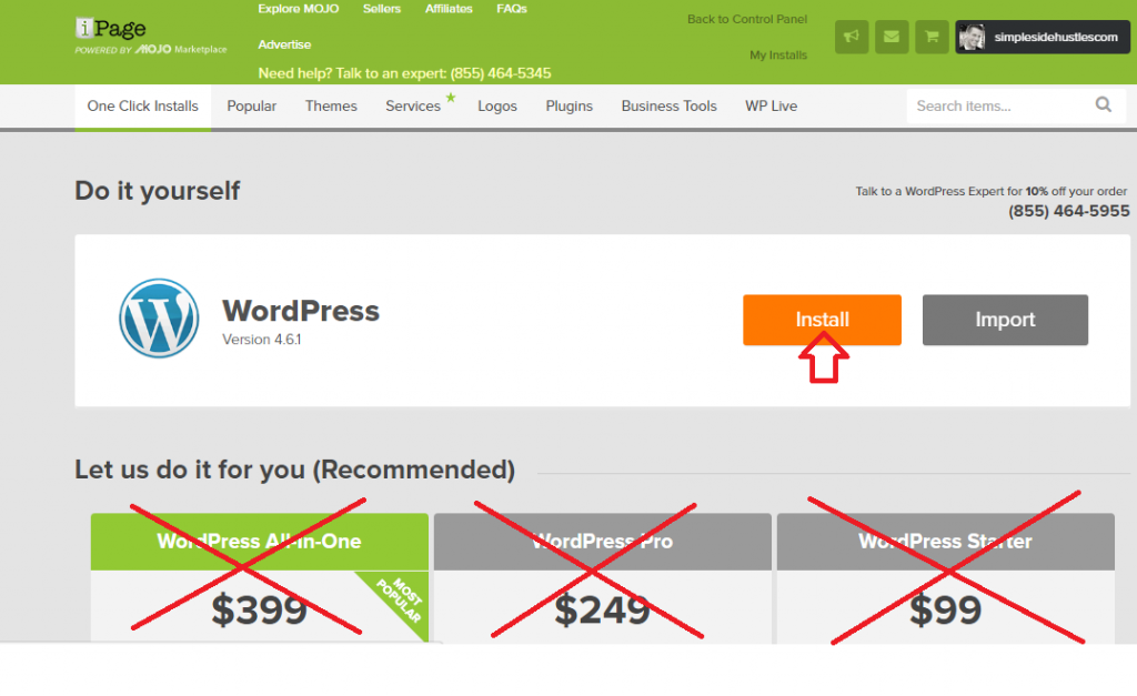 start a wordpress blog on ipage - install wordpress