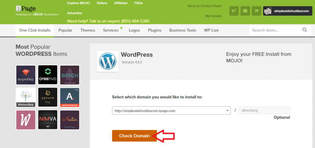 start a wordpress blog on ipage - save wordpress to domain