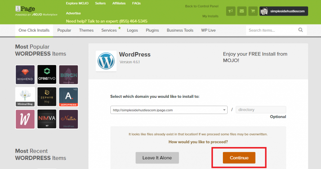 start a wordpress blog on ipage - proceed with wordpress