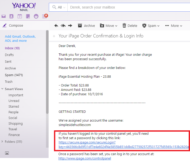 start a wordpress blog on ipage - check email #1