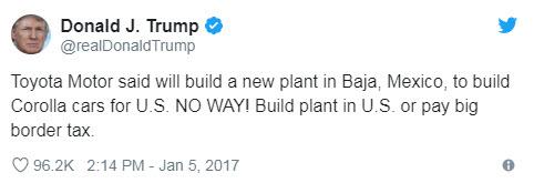 trump tweet - Toyota