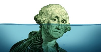 dollar bill under water