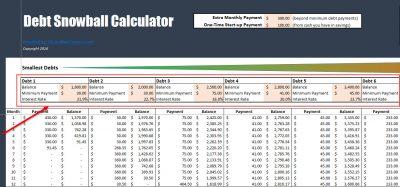 Debt Snowball Calculator Filled In
