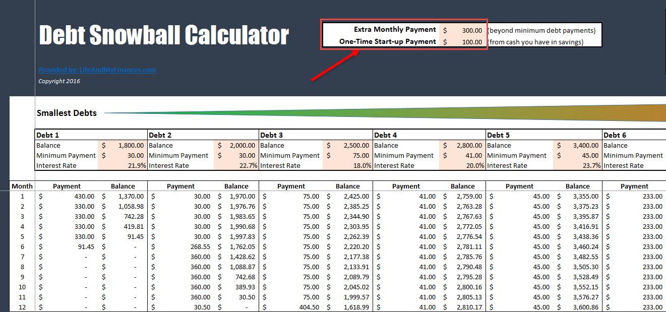 Debt Snowball Calculator - Payments
