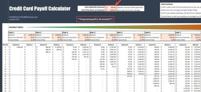 Credit Card Payoff Calculator - payoff in 24 months