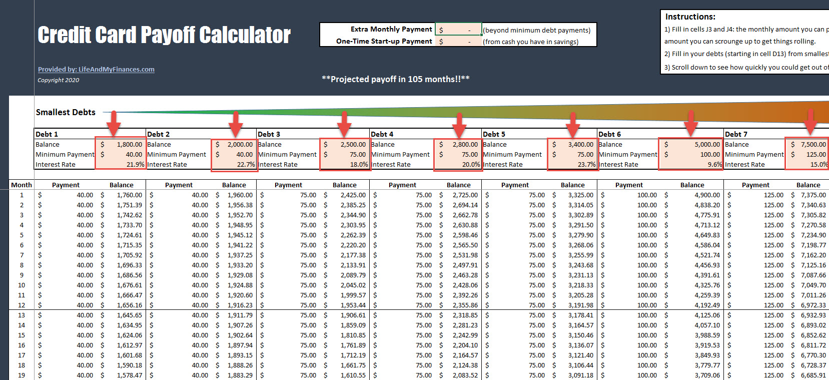 Credit Card Payoff Calculator - Initial Entires