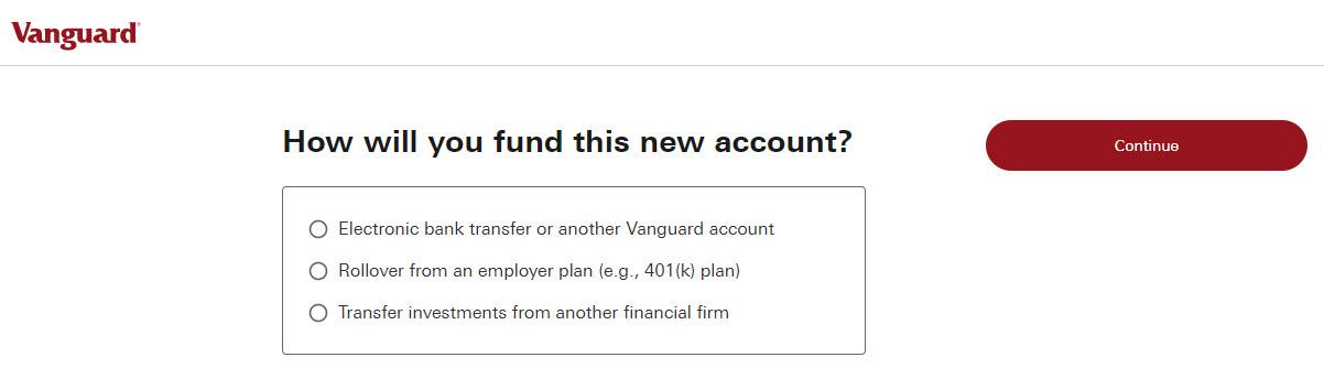 Vanguard funding new account